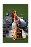 Pinup Girl Railroad Trip Print by  Lantern Press