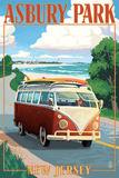 Asbury Park, New Jersey - VW Van Coastal Drive Print by  Lantern Press