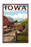 Iowa - Barnyard Scene Prints by  Lantern Press