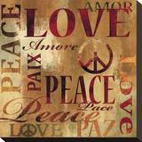 Peace and Love Stretched Canvas Print by Luke Wilson