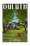 Duluth, Georgia - Peach Orchard with Truck Prints by  Lantern Press