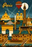 Paris, France - Retro Skyline Posters