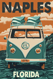 Naples, Florida - VW Van Poster by  Lantern Press