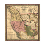 Texas, Oregon, and California - Vintage Map Prints by  Lantern Press