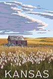 Kansas - Wheat Fields and Homestead Prints by  Lantern Press