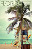 Lantern Press - Florida - Lifeguard Shack and Palm Plakát