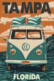 Tampa, Florida - VW Van Prints by  Lantern Press