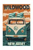 Wildwood, New Jersey - VW Van Prints by  Lantern Press