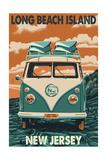 Long Beach Island, New Jersey - VW Van Art by  Lantern Press