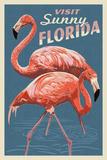 Visit Sunny Florida - Flamingo Schilderij van  Lantern Press