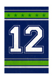 Monogram - Game Day - Blue and Green - 12 Prints by  Lantern Press