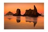 Rocky Beach Orange Sunset Prints by  Lantern Press