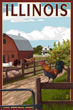 Illinois - Barnyard Scene Prints by  Lantern Press