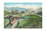 Gardiner, Montana - Yellowstone National Park - Aerial View of Gardiner Depot, Stone Arch Kunstdrucke von  Lantern Press