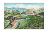 Gardiner, Montana - Yellowstone National Park - Aerial View of Gardiner Depot, Stone Arch Prints by  Lantern Press