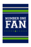 Monogram - Game Day - Blue and Green - Number One Fan Poster by  Lantern Press