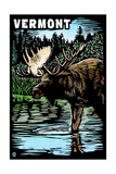 Vermont - Moose - Scratchboard Prints by  Lantern Press