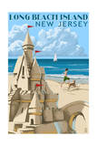 Long Beach Island, New Jersey - Sandcastle Prints by  Lantern Press