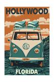Hollywood, Florida - VW Van Art by  Lantern Press