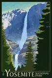 Yosemite Falls - Yosemite National Park, California Lithography Reprodukcje autor Lantern Press