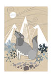 Winter Wolf Howling Prints