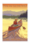 Plain, Washington - Canoe Scene Prints by  Lantern Press