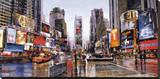 Evening in Times Square Stretched Canvas Print by Matthew Daniels