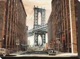 View to the Manhattan Bridge, New York City Stretched Canvas Print by Matthew Daniels