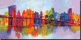 Manhattan abstrait, triptyque Reproduction transférée sur toile par Brian Carter