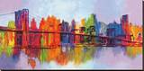 Manhattan abstrait, triptyque Reproduction sur toile tendue par Brian Carter