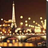 City Lights-Paris Stretched Canvas Print by Kate Carrigan