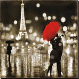 A Paris Kiss Stretched Canvas Print by Kate Carrigan
