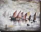 Sailing Boats, 1930 Trykk på strukket lerret av Laurence Stephen Lowry
