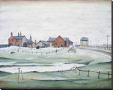 Landscape with Farm Buildings, 1954 Stretched Canvas Print by Laurence Stephen Lowry