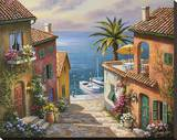 Villa's Private Dock Stretched Canvas Print by Sung Kim