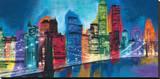 Abstract NYC Skyline at Night Lærredstryk på blindramme af Brian Carter