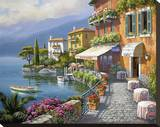 Seaside Bistro Café Stretched Canvas Print by Sung Kim