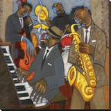 Thelonious Monk and his Sidemen Stretched Canvas Print by Marsha Hammel