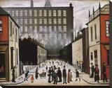 Street Scene (Pendlebury) Stretched Canvas Print by Laurence Stephen Lowry