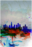 Los Angeles Watercolor Skyline 1 Poster by  NaxArt