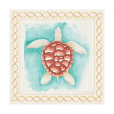 Coastal Mist Sea Turtle Border Turquoise Premium Giclee Print by Elyse DeNeige