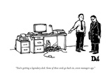 """You're getting a legendary desk. Some of these cords go back six, seven m…"" - New Yorker Cartoon Premium Giclee Print by Drew Dernavich"