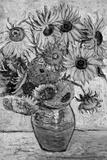 Vincent Van Gogh Vase Twelve Sunflowers Black White Art Print Poster Posters