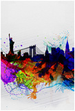 New York Watercolor Skyline 1 Poster van  NaxArt