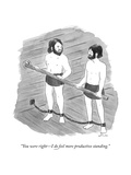 """You were right—I do feel more productive standing."" - New Yorker Cartoon Premium Giclee Print by Emily Flake"