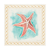 Coastal Mist Starfish Border Turquoise Posters by Elyse DeNeige