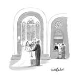 A Bride and Groom getting married, while a couple in the background stands… - New Yorker Cartoon Premium Giclee Print by Liam Walsh