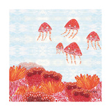 Orange Jelly Fish Poster by Sarah Millin