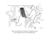 """This conversation may be recorded for training purposes and used in a hil…"" - New Yorker Cartoon Premium Giclee Print by Michael Shaw"