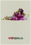 Virginia Color Splatter Map Print by  NaxArt